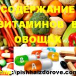 Содержание витаминов в овощах