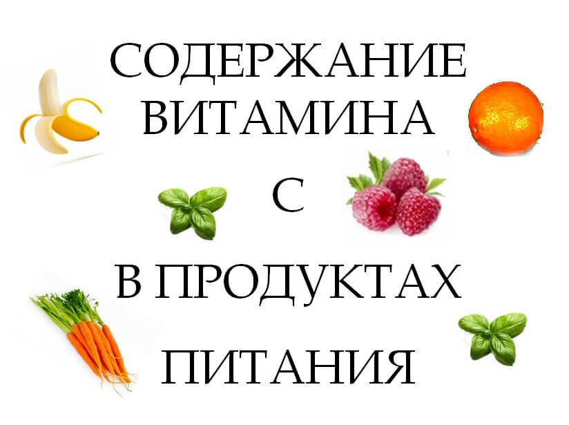 Содержание витамина С в продуктах питания