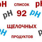Список 92 щелочных продуктов
