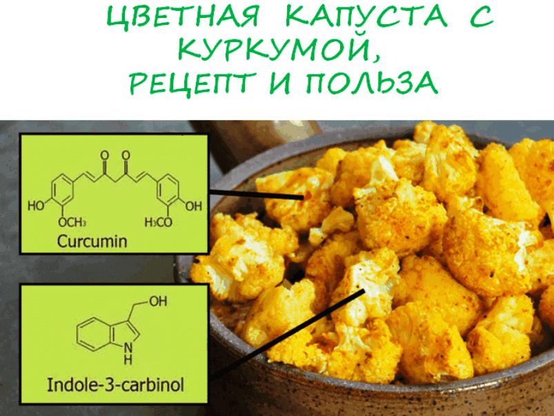 Рецепты из цветной капусты с куркумой
